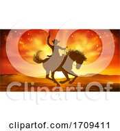 Cowboy Riding Horse Silhouette Sunset Background by AtStockIllustration
