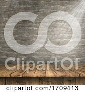 3D Wooden Table Against A Defocussed Brick Wall Texture