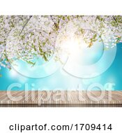3D Wooden Table Looking Out To A Cherry Blossom Tree On A Blue Sky Background