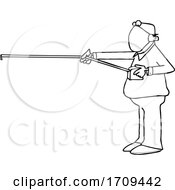 Cartoon Black And White Man Measuring 6 Feet Of Distance And Wearing A Mask