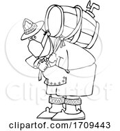 Cartoon Black And White Oktoberfest Man Carrying A Keg And Wearing A Mask