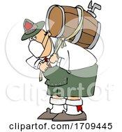 Poster, Art Print Of Cartoon Oktoberfest Man Carrying A Keg And Wearing A Mask
