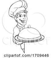 Chef Holding Plate Platter Sign Cartoon