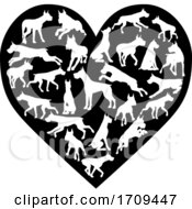 Poster, Art Print Of Great Dane Dog Heart Silhouette Concept