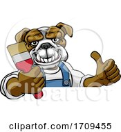 Poster, Art Print Of Bulldog Painter Decorator Holding Paintbrush