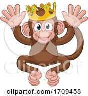 05/02/2020 - Monkey King Crown Cartoon Animal Mascot Waving