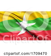 3D Illustration Of The Flag Of Myanmar Waving In The Wind