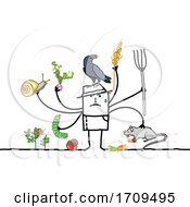 Poster, Art Print Of Stick Man Scarecrow Or Farmer With Pests