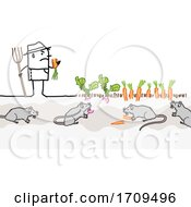 Poster, Art Print Of Stick Man Farmer With Rats Eating His Crops