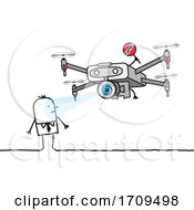 Stick Man Caught By A Drone