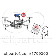 Poster, Art Print Of Stick Man Showing His Id To A Drone Officer