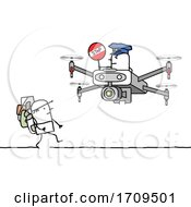 Stick Man Hiker Being Approached By A Drone Officer