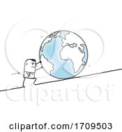 Poster, Art Print Of Stick Business Man Pushing Earth Up A Hill