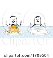 Poster, Art Print Of Stick Business Man Eating Good While An Employee Has A Small Portion