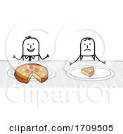 Poster, Art Print Of Stick Business Man Eating Good While An Employee Has A Small Slice