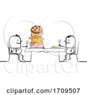 Poster, Art Print Of Stick Business Man Eating Good While An Employee Has A Small Plate
