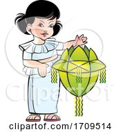 Girl Holding A Vesak Lantern