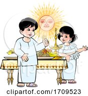Boy And Girl With Sinhala New Year Sun And Foods