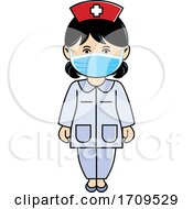 Nurse Wearing A Face Mask by Lal Perera