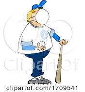 Cartoon Baseball Player Wearing A Mask