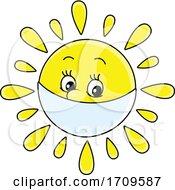 Sun Mascot Wearing A Mask