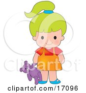 Cute Green Haired Caucasian Girl Carrying A Teddy Bear Clipart Illustration