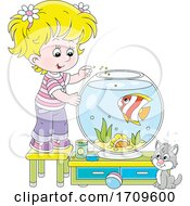 Girl Feeding Her Pet Fish