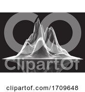 Wireframe Landscape Of Peaked Mountain
