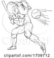 Poster, Art Print Of Elephant Baseball Player Mascot Swinging Bat