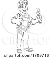 Poster, Art Print Of Mechanic Plumber Wrench Spanner Cartoon Handyman