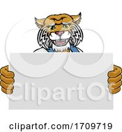 Wildcat Cartoon Mascot Handyman Holding Sign
