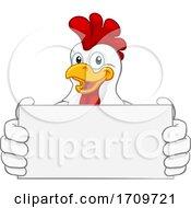Poster, Art Print Of Chicken Cartoon Rooster Cockerel Holding Sign