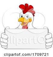 Chicken Cartoon Rooster Cockerel Holding Sign