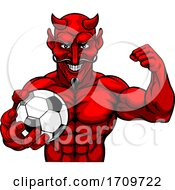 05/05/2020 - Devil Soccer Football Sports Mascot Holding Ball