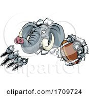 Poster, Art Print Of Elephant American Football Ball Sports Mascot