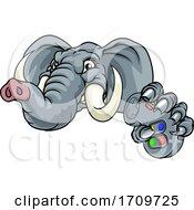 Poster, Art Print Of Elephant Video Games Controller Gamer Mascot