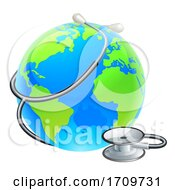 Poster, Art Print Of Earth World Globe With Stethoscope