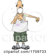 Cartoon Man Wearing A Mask And Spraying Bug Repellent