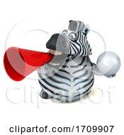 3d Zebra On A White Background