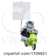 05/26/2020 - 3d White Business Monkey Yeti Riding A Scooter On A White Background