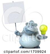 05/26/2020 - 3d White Monkey Yeti Holding A Light Bulb On A White Background
