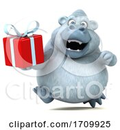 05/26/2020 - 3d White Monkey Yeti Holding A Gift On A White Background