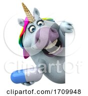 Poster, Art Print Of 3d Chubby Unicorn On A White Background