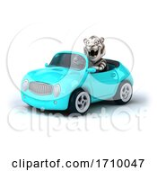 Poster, Art Print Of 3d White Tiger Driving A Convertible On A White Background