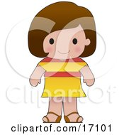 Cute Spanish Girl Wearing A Flag Of Spain Shirt Clipart Illustration