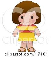 Cute Spanish Girl Wearing A Flag Of Spain Shirt