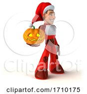 3d White Male Super Hero Christmas Santa On A White Background