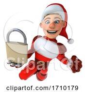 Poster, Art Print Of 3d White Male Super Hero Christmas Santa On A White Background