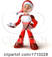 3d White Male Super Hero Christmas Santa On A White Background by Julos