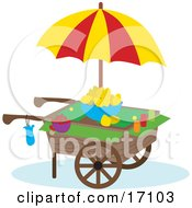 Lemon Cart With Strawberries Lemons And An Umbrella Clipart Illustration by Maria Bell